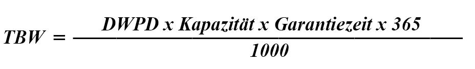 TBW Berechnungsformel